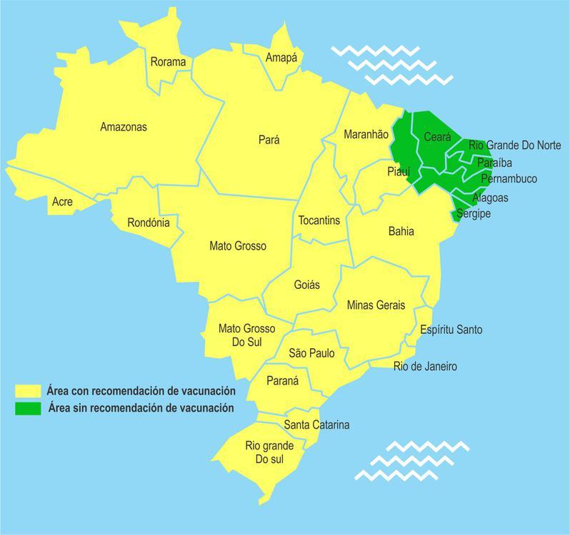 Mapa de zonas con fiebre amarilla en brasil